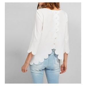 MBM Unlimited Tops - White Solid 3/4 Sleeve Scallop Trim Blouse